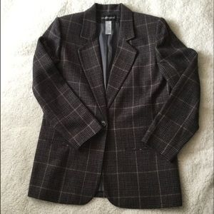 Sag Harbor Charcoal Purple Plaid Blazer